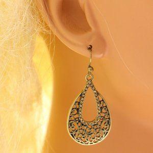 Lane Bryant antiqued gold teardrop dangle earrings